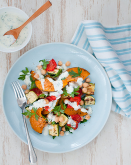 Roast Vegetable & Chickpea Salad with Dill Yoghurt Dressing