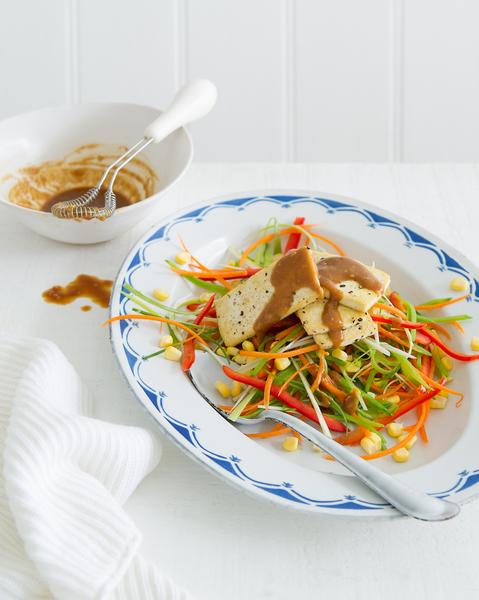 Shredded Vegetable & Tofu Salad with Almond Dressing