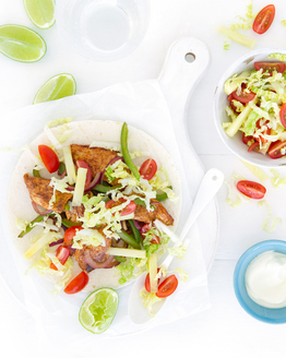 Chicken Fajitas with Pineapple Slaw