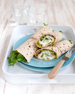 Ham & Corn Relish Wrap with Cottage Cheese