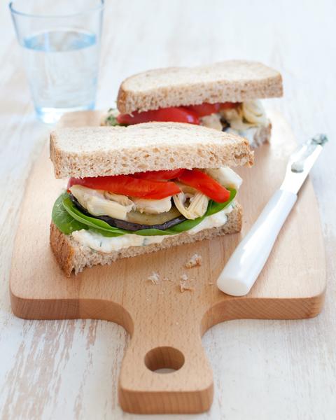 Mediterranean Vegetable Sandwich with Basil Ricotta