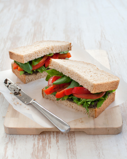 Roast Capsicum & Tomato Sandwich with Olive Tapenade