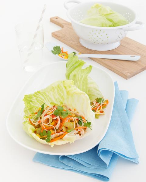 Chicken, Vegetable & Noodle Lettuce Wraps