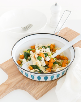 Pasta with Roasted Pumpkin, Almonds & Spinach