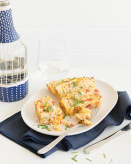Rice, Roasted Capsicum, Feta & Chive Slice