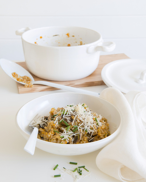 Oven Baked Risotto with Mushrooms, Pumpkin & Zucchini
