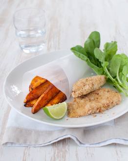 Baked Crumbed Fish with Smoked Paprika Wedges