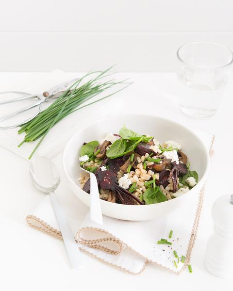 Warm Barley, Mushroom, Beetroot & Feta Salad