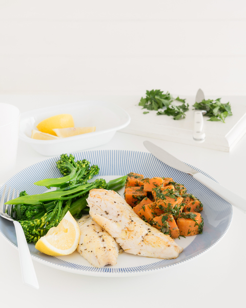 Grilled Fish with Warm Sweet Potato Salad