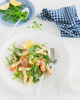 Pasta with Smoked Salmon, Snow Peas & Lemon