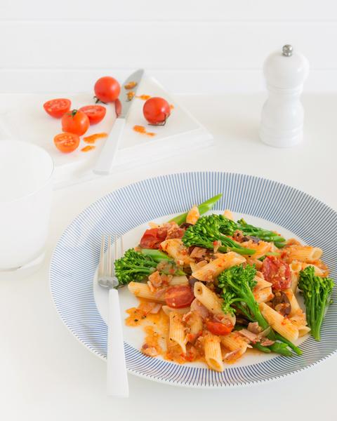 Pasta with Broccolini, Pancetta, Tomato & Chilli
