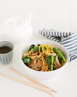 Chicken, Egg Noodle, Mushrooms & Gai Lan Stir Fry