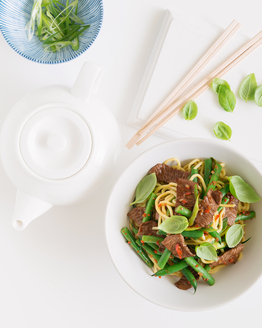Hokkien Noodles with Lamb, Chilli & Basil