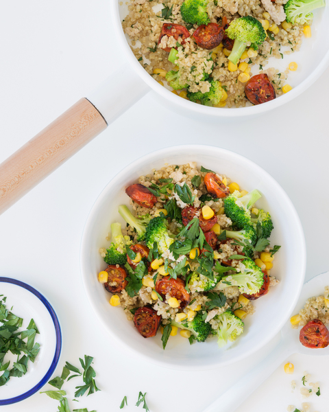 Quinoa Pilaf with Chicken, Corn, Broccoli & Roasted Tomatoes