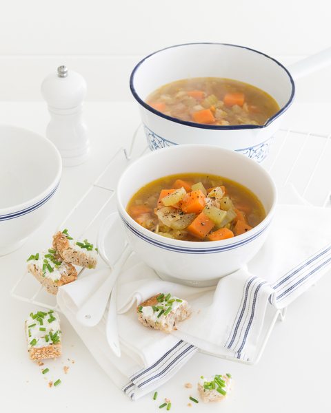 Sweet Potato & Leek Soup with Cheese Toasts