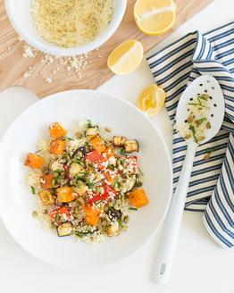 Warm Couscous, Roasted Pumpkin, Eggplant & Capsicum Salad with Pepitas