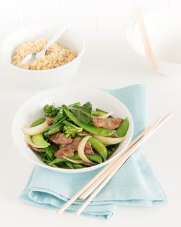 Stir-fried Beef & Sugar Snaps with Quinoa