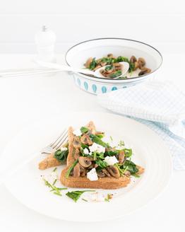 Spinach & Mushroom Feta Toast