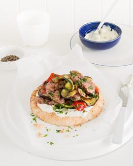 Grilled Lamb & Vegies on Pita