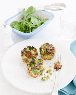 Broccoli & Mushroom Rice Cakes