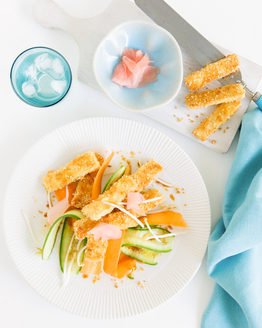 Crispy Tofu with Pickled Ginger Salad