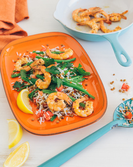 Garlic Prawns with Rice, Lentil & Green Bean Salad
