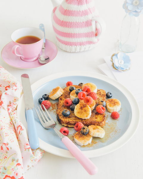 French Toast with Banana, Berries & Maple Syrup