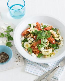 Artichoke, Grilled Zucchini, Chickpea & Roast Tomato Salad