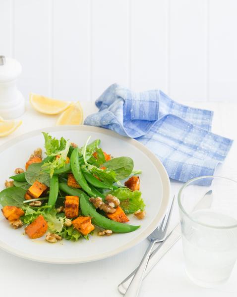 Maple Roasted Sweet Potato, Walnut & Sugar Snap Salad