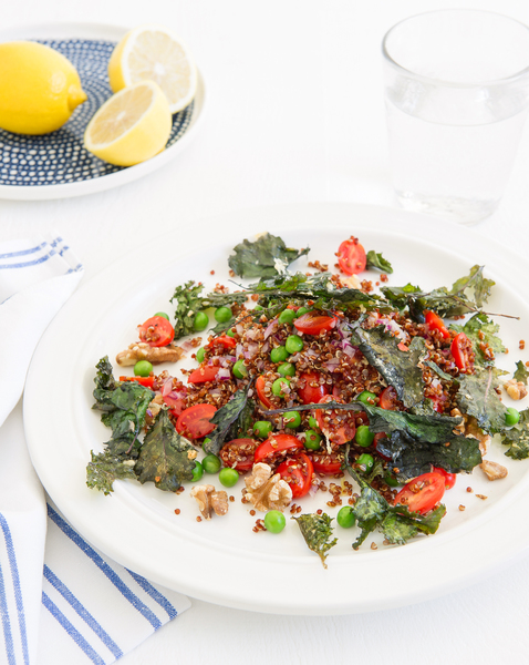 Red Quinoa Salad with Kale Crumbs