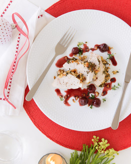 Macadamia Roast Chicken with Sour Cherry Sauce
