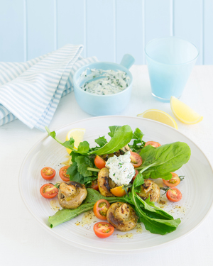 Barbecued Mushrooms with Rocket & Herbed Ricotta