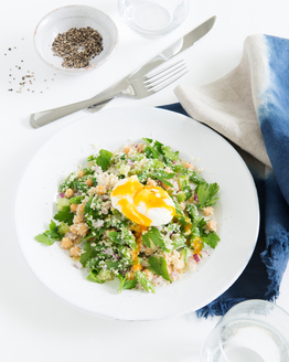Burghul & Chickpea Salad with Poached Egg