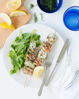 Fish Kebabs with Green Leaf Salad