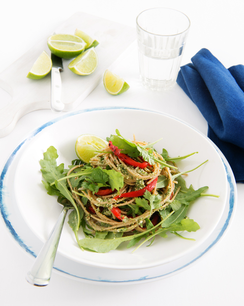 Coriander Pesto Spaghetti with Roasted Capsicum