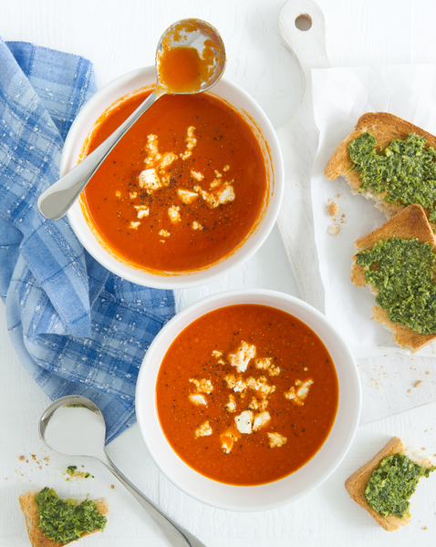 Roasted Capsicum Soup with Feta & Pesto Toasts