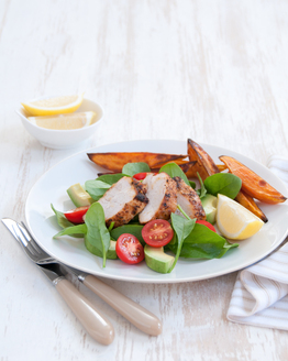 Cajun Chicken with Sweet Potato Wedges & Avocado Salad