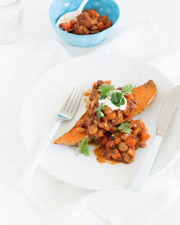Baked Sweet Potatoes with Mexican Beans