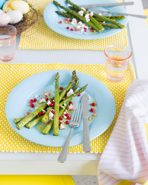 Grilled Asparagus with Goats Cheese & Pomegranate