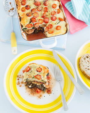 Baked Eggplant with Zucchini & Ricotta