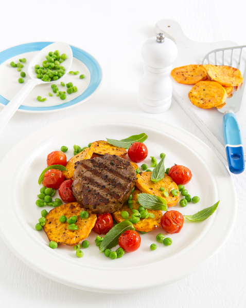 Peppered Steak with Mashed Peas & Roasted Cherry Tomatoes