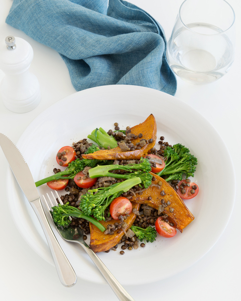 Spice Braised Lentils with Roasted Pumpkin & Broccolini