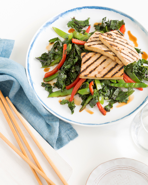 Grilled Tofu 'Steaks' with Stir-Fried Vegies